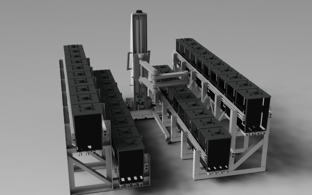 Articulated Arm Lift for Batteries in Racks