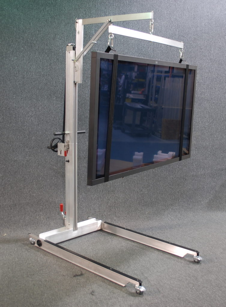 Field Service Trav-a-Lift with Crossbar and Tethers for Flat Panel Displays