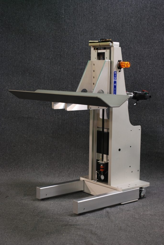 Power Drive Lift with Stainless Steel V-Trough for Handling Rolls