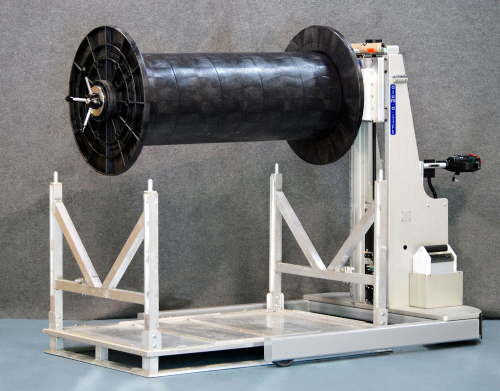 Power Drive Lift and Cart For Unwinding Spools and Reels