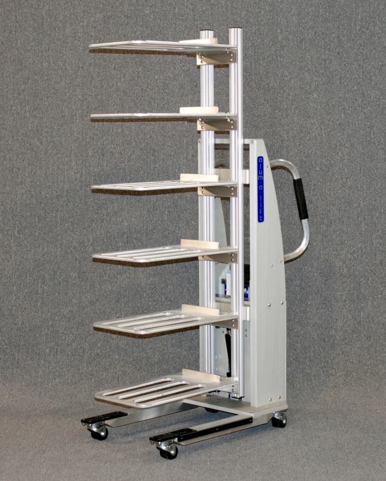 Multi-Platform Lift for Handling Laptop Computers on Trays