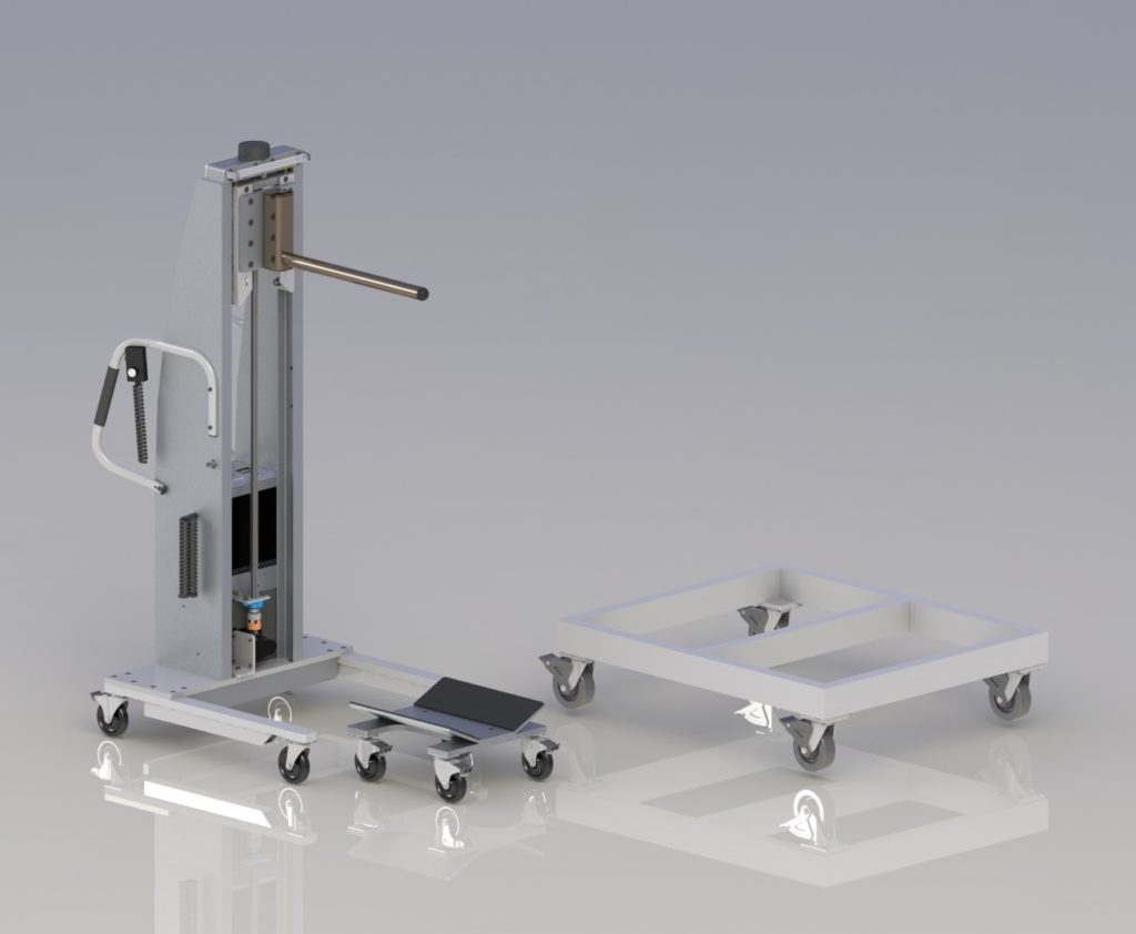 Roll Handling Lift with Stainless Steel Prong V-Trough Cart and Alum-a-Dolly