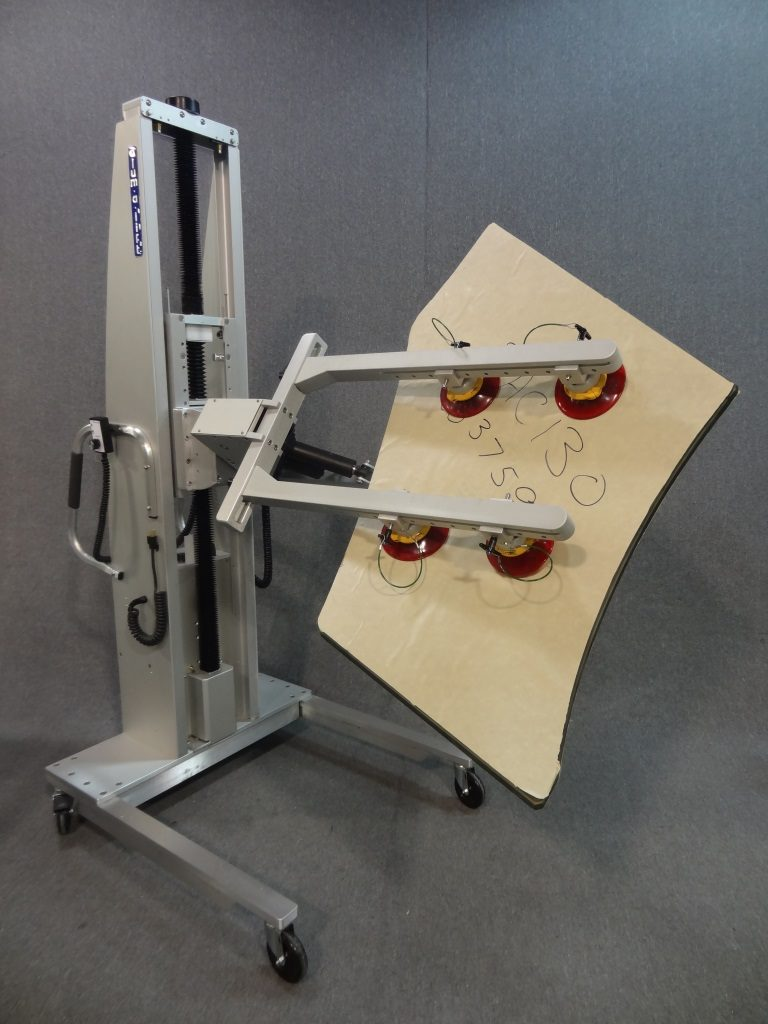 Lift with Suction Cup Array for Rotating Glass Sheets