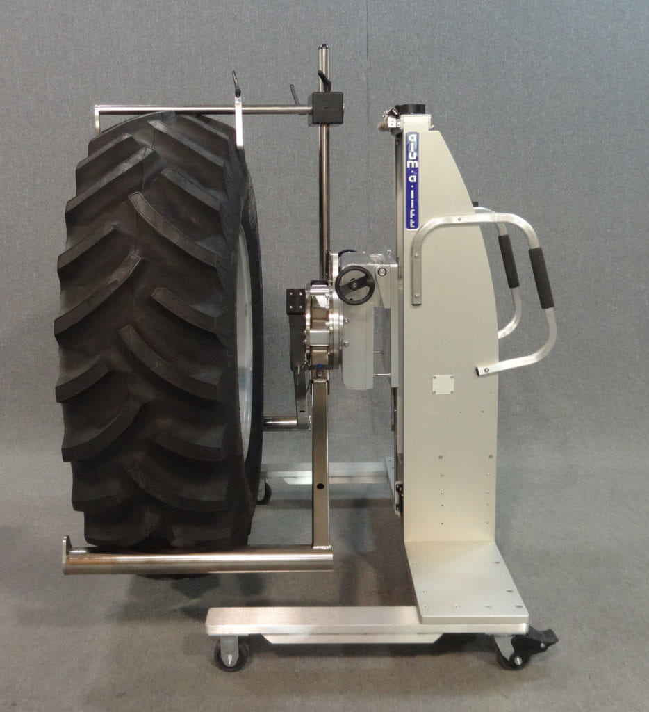 Prong Lift for Rotating and Installing Tires