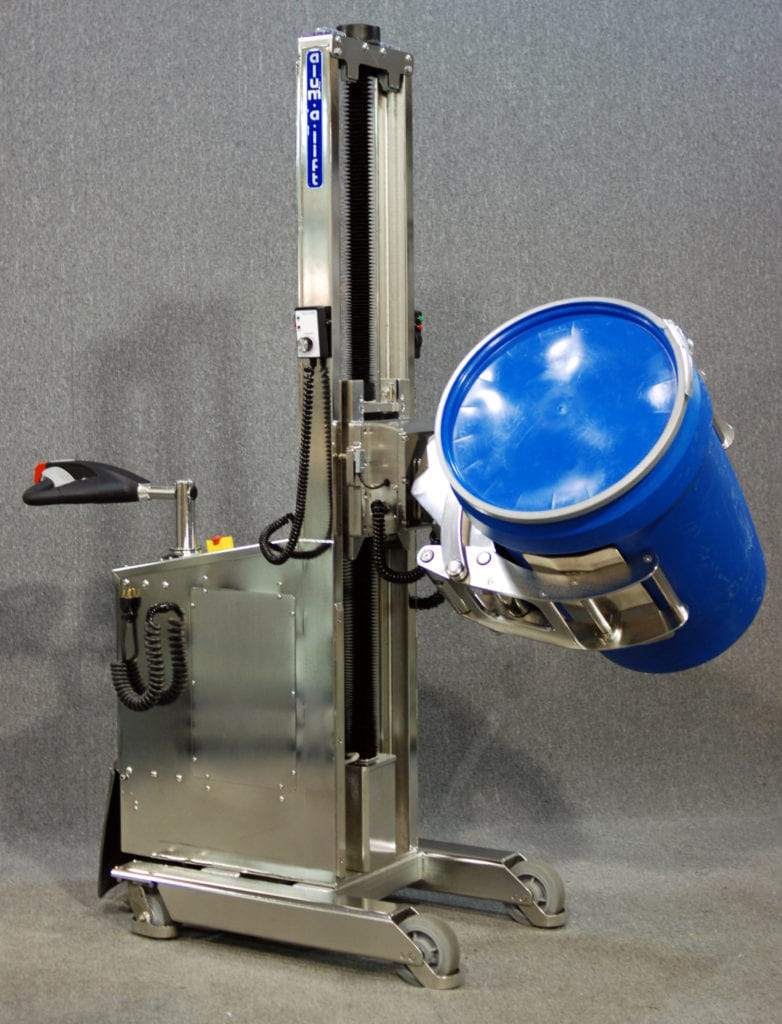 IP65 Self Propelled Stainless Steel Lift with Powered Rotating Drum Clamp