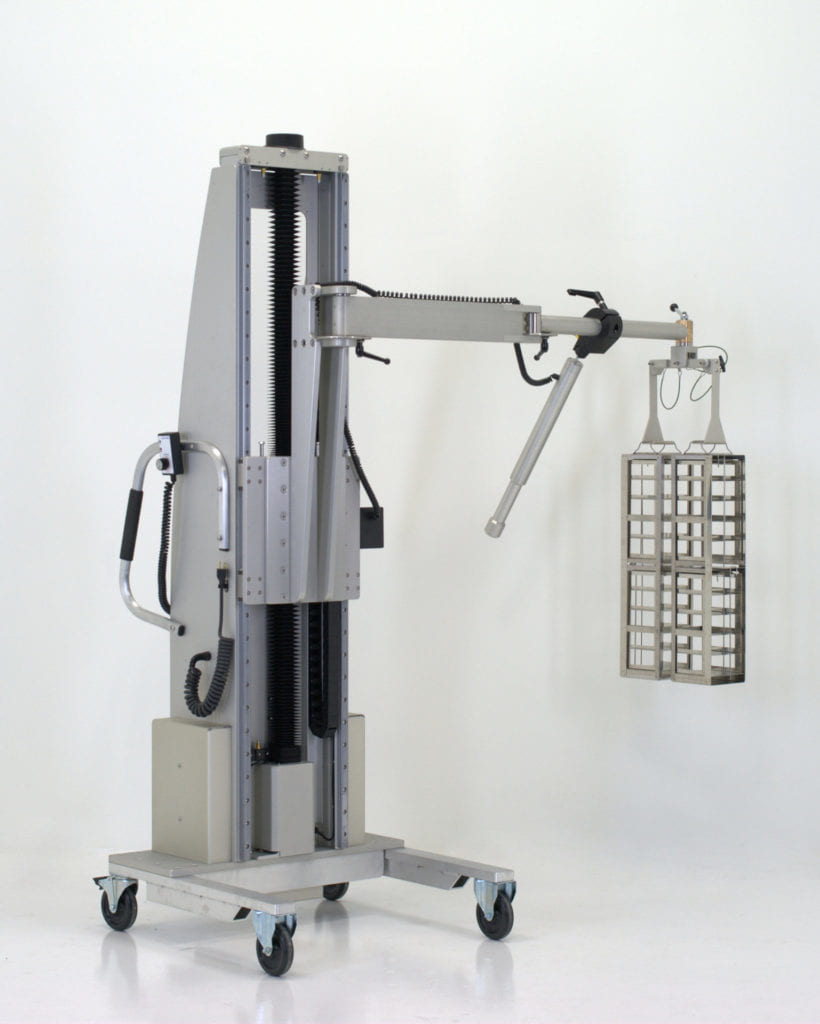 Ergonomic Pharmaceutical Lift with Rack and Basket Handling Arm