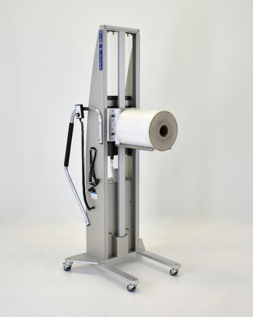 Portable Ergonomic Roll Handling Lift with Prong Set and Platform