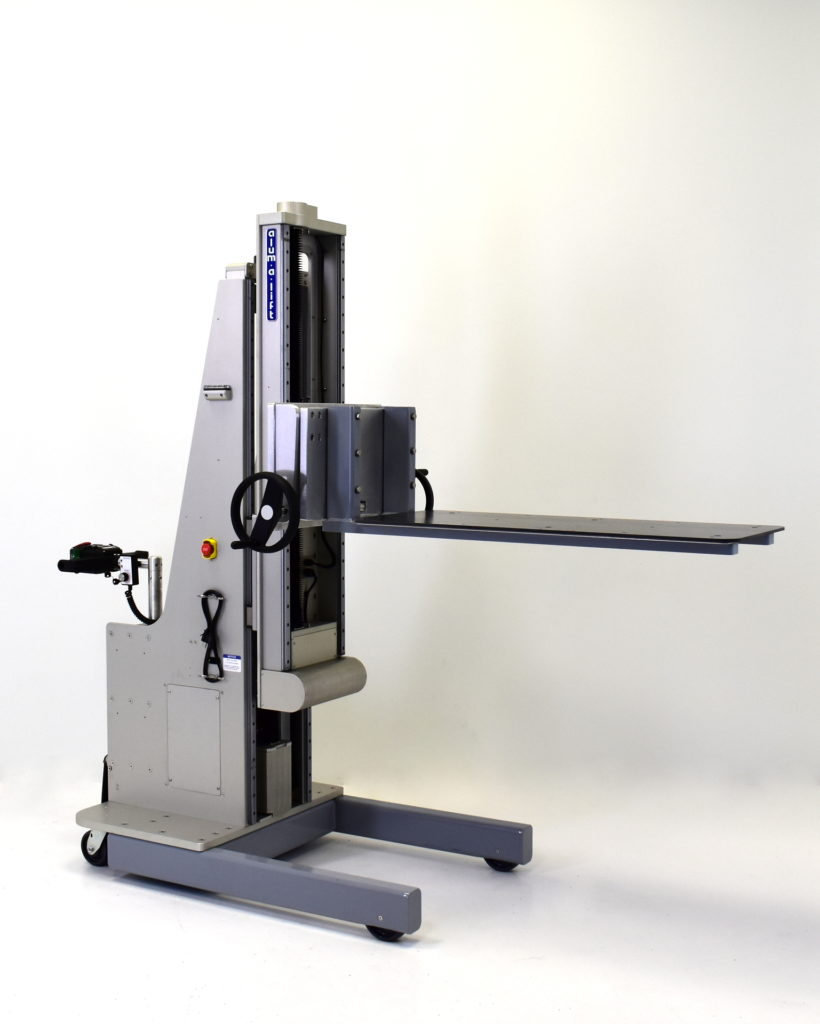 Portable Ergonomic Platform Lift with Dual Stage Telescoping Mast