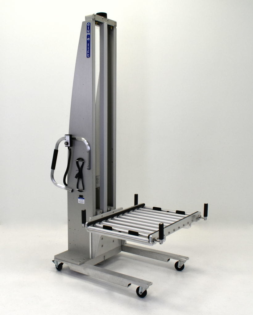 Roller Deck on Portable Ergonomic Lift for Rackmount Server Components