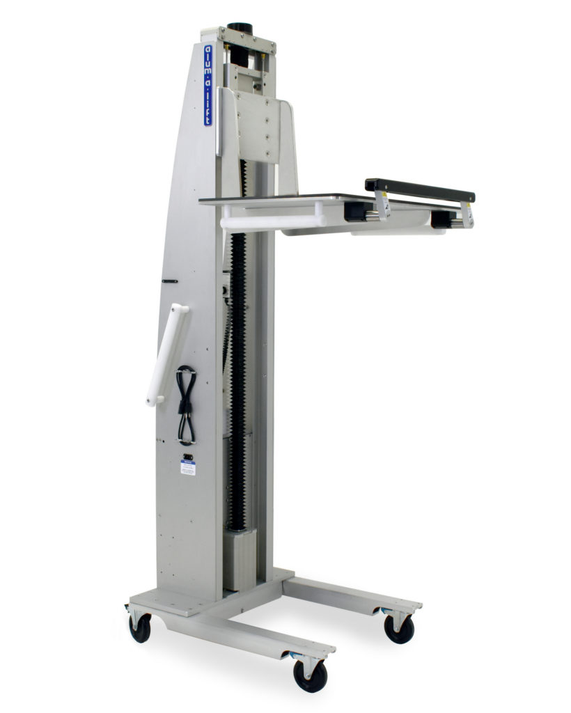 Custom Ergonomic Material Handling Lift System with Platform and Flip-Up Safety Feature