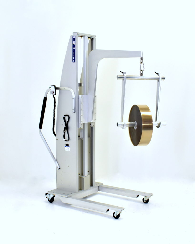 Portable Ergonomic Roll Handling Lift with Through Shaft Hooks